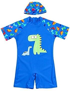 Bañador para Niño Trajes de Baño - Una Pieza Shorty Ropa de Natación y Gorra de Natación Caricatura Dinosaurio