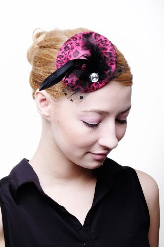 DRESS ME UP – Fascinator Miniatur Hut Mini Zylinder rosa rot Leoparden Raubkatzen Look Tüll Punkte Damen Burlesque H43 Gothic Lolita (Rosa Leopard Halloween Kostüme)
