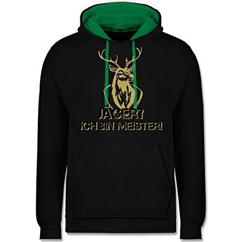 Jäger Kostüm Mann - Après Ski - Jäger? Ich Bin Meister! - M - Schwarz/Grün - JH003 - Kontrast Hoodie