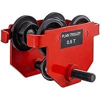 Mophorn Carrito para Vigas 0.5T Rojo Carro Polipasto Carrito de Empuje para Vigas Carro Manual para Polipasto