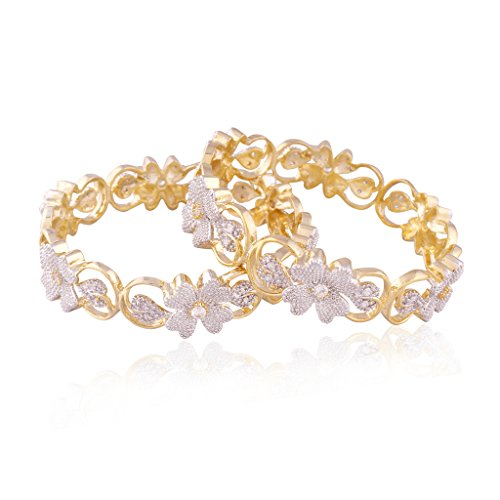 I Jewels American Diamond Gold Plated Bangles for Women ADB110