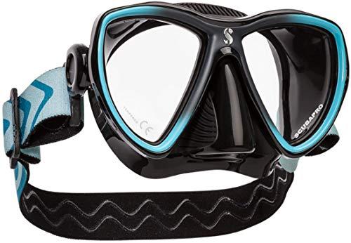 SCUBAPRO Synergy Mini Tauch- und Schnorchelmaske für schmale Gesichter, Farbe:schwarz/türkis
