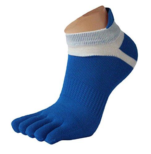 Calzino Familizo Uomo Calzini 1 paio Mens Mesh Meias correnti di sport cinque calzini della punta della barretta (Blu)