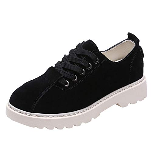 POLPqeD Scarpe Stringate Basse Donna Brogue Casual Plateau Calzature in Pelle Wedge Sneakers Indoor Nero Cachi 35-40
