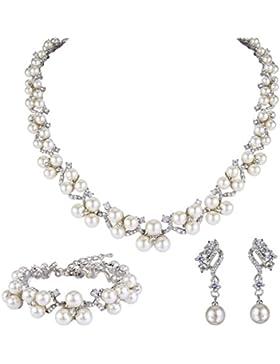 EVER FAITH® österreichischen Kristall CZ künstliche Perle edel Hochzeit Schmuckset Silber-Ton