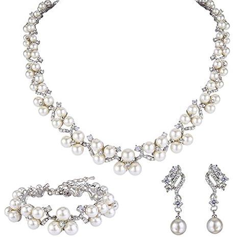 EVER FAITH® Women's Crystal CZ Simulated Pearl Victorian Style Jewellery Set Clear Pierced N06562-1 - Stile Cristallo Perla