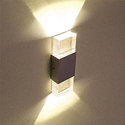 Lightess Apliques de Pared Lámpara en Moda de Aluminio LED Luz Cálido y Agradable Luz de Ambiente La Iluminación de Dormitorio, Studio, Hogar Decoración, Porche, Blanco Cálido, 6w