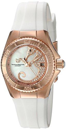 Technomarine Reloj de cuarzo para mujer con color blanco esfera analógica pantalla y correa de silicona, color blanco tm-115208