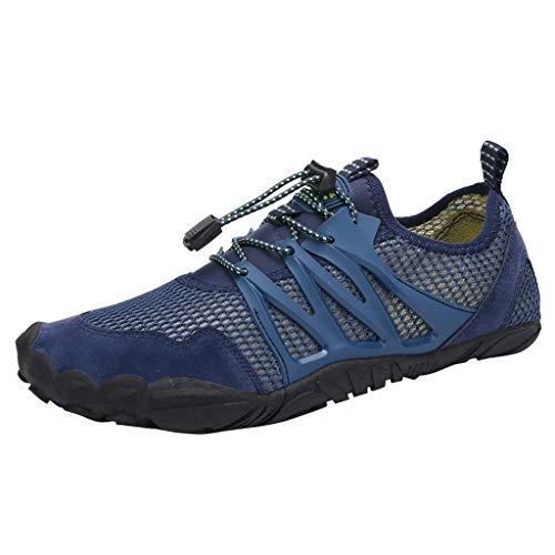 Fenverk Herren Aquaschuhe Strandschuhe Atmungsaktives Outdoor Hiking Trekking Schuhe Schnell Trocknend Mesh Wasserschuhe Wanderschuhe Turnschuhe Sneakers 35-47(Blau,41 EU) -