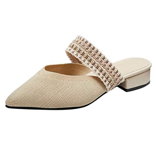 FNKDOR Schuhe Damen Mesh Spitz Pantoffeln Nicht offener Zeh Pantoffeln One Band Blockabsatz Slipper Beige 35 EU Tone Peep Toe Slingback Sandal