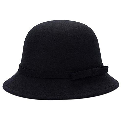 Dosige Mujer Sombrero Hongo Gorra Bombín con Visera Curvada Bowler Hat Sombrero Boina para Cálido Gorro Tapones Hat Cap Chicas (Negro)