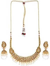 Priyaasi Antique Gold-Toned & Off-White Kundan Stone-Studded Jewellery Set