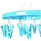 Chhote Saheb Plastic Hanger with 28 Pegs - Baby Diaper Nappy Clothes Hanging Dryer Rack with Clips - Portable Fold-able Travel Laundry Accessory - Blue