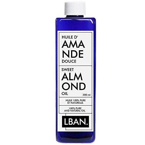 Olio di Mandorla Dolce 100% pura–200ml–lban–Cura per capelli, corpo, pelle, massaggio.
