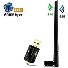 ANEWISH® Adattatore Wifi USB Chiavette WiFi con Antenna 5dBi Scheda di Rete WiFi ac600 Dual Band 5G Dongle Wi-Fi Mini Ricevitore Wi-Fi per Pc Windows10/8/7/Vista/XP/2000, Mac OS X