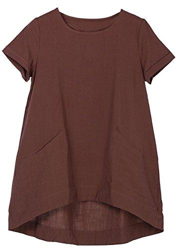 MatchLife Damen Sommer Tuniken Kurze Ärmel Leinen Bluse Casual T-Shirt Tops Schokolade L (Leinen Braun)