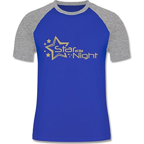JGA Junggesellenabschied - Star of the Night - zweifarbiges Baseballshirt für Männer Royalblau/Grau meliert