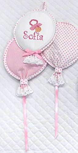 Filet- fiocco nascita palloncini | con inserto in tela aida da ricamare - rosa