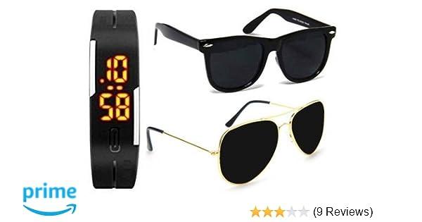 5acf52560e22 Unisex Uv Protected Combo Pack of Golden Black Aviator Sunglasses and Matte Black  Wayfarer Sunglasses (Golden Black - Matte Black Wayfarer)  Amazon.in  ...