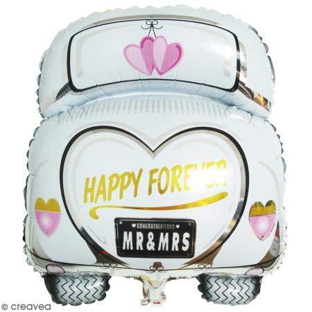 Rayher 87016000 Folienballon Hochzeitsauto, 49 x 63cm, XXL Ballon für Hochzeiten, geeignet für Luft- und Heliumfüllung