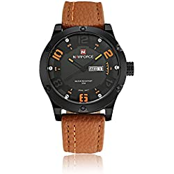NAVIFORCE Brand Leather Strap Analog Men's Quartz Hour Date Clock Fashion Casual Sports Watches Men Military Wrist Watch (Orange)
