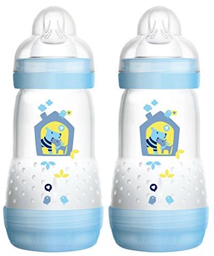 MAM 99921511 Biberon anticolica da 260 ml, Confezione doppia, Bambino, Tetarella no. 1, Blu