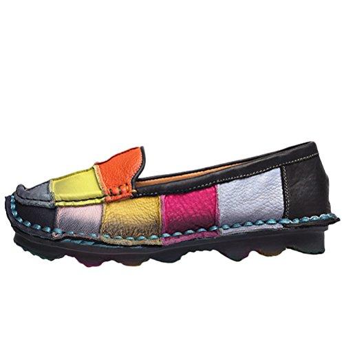 Vogstyle Mocassin Coloris Femme Cuir Chaussures Plates Priemps été Conforts Casuel Derbie Loisir Noir