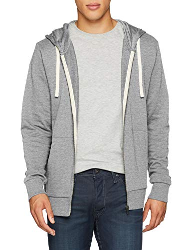 JACK & JONES Herren Jjeholmen Sweat Zip Hood Noos Sweatjacke, Grau (Light Grey Melange Fit: Reg Fit - Melange), XS (Star Zip-hood Sweatshirt)