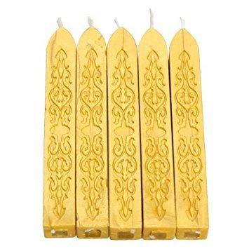 Tenflyer 5er-Pack Stück Bunte Kerze Quadratisch Siegellack Stick mit Docht(gelb)