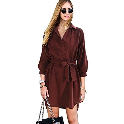 HYHAN Robe New Spring And Summer Nouveau lâche Casual revers Shirt Pure Color Tie Jupe (Multi-couleur en option) wine red