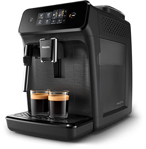 Philips Cafeteras Espresso Completamente automáticas EP1220/00 Serie 1200 Negro Mate con pannarello, 1.8 litros, Acero