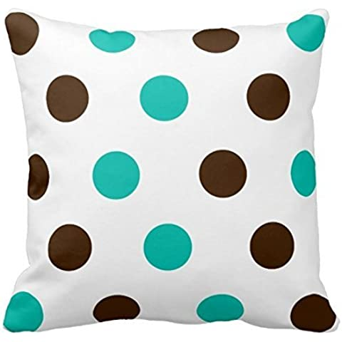 Teal and Chocolate Polka Dots Pattern Square Decorative Throw Pillow Case Cushion Cover 18X18 Inch Zippered (Two Sides)
