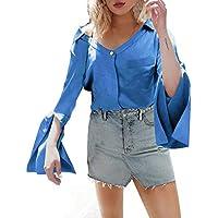 Basic Langarmshirt Damen V-Ausschnitt Bluse Damen Langarm Elegante blusen Damen Pullover top Damen sexy T-Shirt Schlaghülse S-XXL,