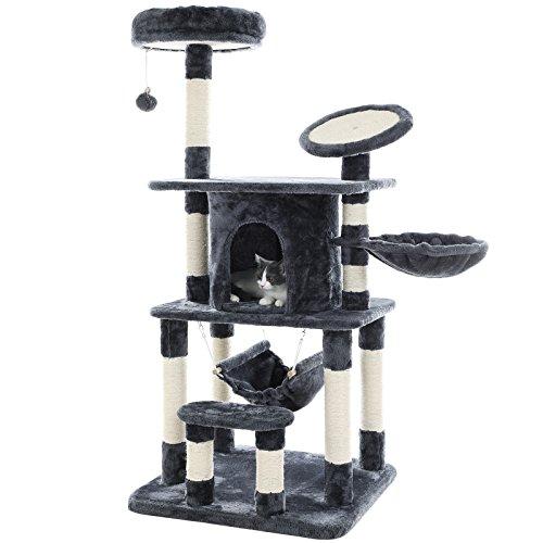 *SONGMICS Stabiler Kratzbaum mit Kratzbett in 145 cm, robuster Kletterbaum mit großem Spielplatz, grau, PCT25G*