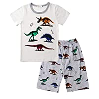 Gorgeya Boys Pyjamas Kids Pjs Dinosaur Print 100% Cotton Toddler Boys Outfits Short Sleeve 2 Pieces Summer Sleepwear Shirts and Pants 1-7 Years
