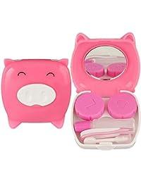 Ndier Tragbarer Reise Cartoon Piggy Kontaktlinse Kasten Spiegel Tweezer Stock Flaschen Halter Kasten Rosa Health Misc