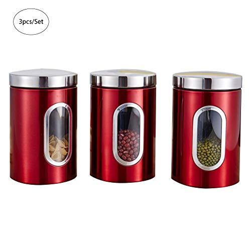 elec tech Vorratsdosen 3 pcs Rotes Dosenset aus Edelstahl mit Sichtfenster Luftdichte Behälter 1.5...