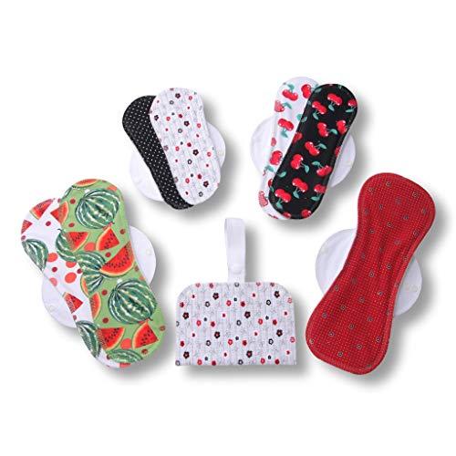 Waschbare Stoffbinden, 7er Pack Baumwolle Wiederverwendbare Binden mit Flügeln MADE IN EU; Damenbinden für Menstruation, Inkontinenz, postpartale Blutungen; Binden aus Baumwolle ohne Chemikalien