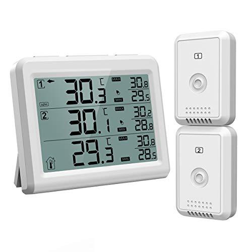 [Upgrade Version]ORIA Kühlschrank Thermometer Gefrierschrank Thermometer, Kühlschrankthermometer mit Hintergrundbeleuchtung, 2 Sensor, Temperatur Alarm, MIN/MAX, Perfekt für Hause, Bars, Cafes, etc
