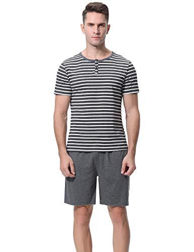 Herren Zweiteiliger Pyjama kurz Baumwolle Schlafanzüge Anzug Shirt Hose Kurze Sommer Shorty Sleepwear Loungewear (Grau-Weiß, M) ()