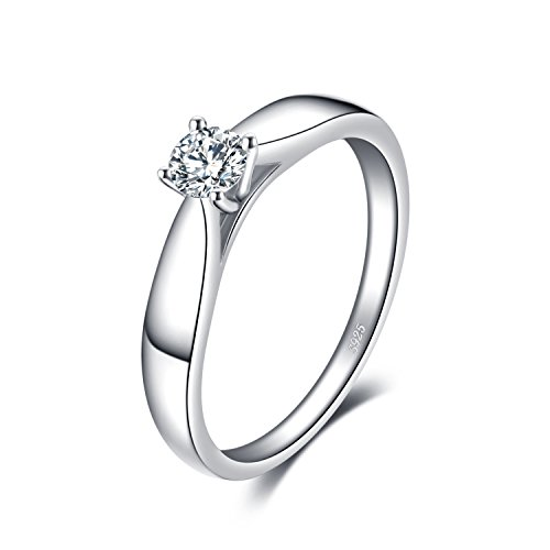 JewelryPalace 0.21ct Magnifique Bague de Fiançailles Femme Alliance Mariage Anniversaire en Argent Sterling 925 en Zircon Cubique de Synthèse CZ Taille 52