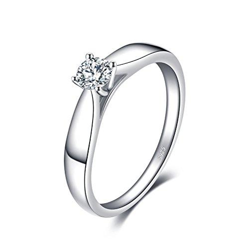 JewelryPalace 0.2ct Cubic Zirconia Anniversario Solitario Fidanzamento Anello 925 Sterling Argento 11.5