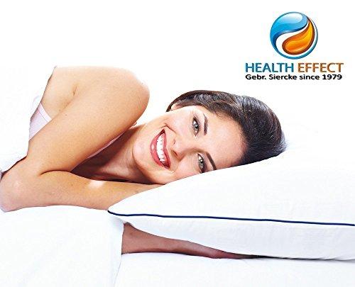 Wasserkissen Health-Effect 50 x 70 cm, weiß. Durch das clever Wasserkissen System erleben Sie in jeder Schlafposition einen individuellen angepassten Stützkomfort für Kopf und Nacken. Vertrauen Sie dem Health-Effect Kissen mit blauen Kante.