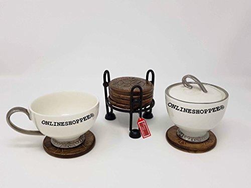 Onlineshoppee Wooden Coaster Set Of 6 Plates With Iron Holder