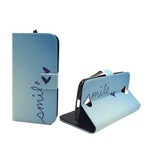 König-Shop Acer Liquid Z330 Klapp-Hülle aus Kunst-Leder | Inklusive Panzer Schutz Glas 9H | Sturzsichere Flip-Case Handyhülle in Blau | Im Smile Motiv Blau
