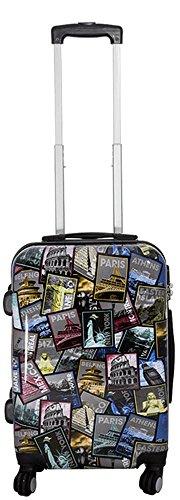 Warenhandel König Polycarbonat Hartschalen Koffer Trolley Reisekoffer Reisetrolley Handgepäck Boardcase Motiv PM (Tourist Attractions, Größe M)