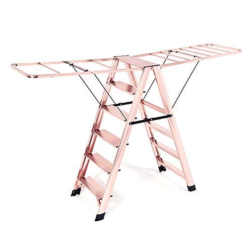 Tritthocker Easy Folding 6 Step Ladder für Erwachsene, 330lbs Fassungsvermögen, breite Pedal-Trittleiter für die Reinigung, leichte rutschfeste Hauptleitern (Farbe : Roségold)