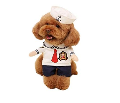 Hotumn Hund Matrosenanzug Katze Sailor Kostüme Marine Anzug mit Hut Halloween Weihnachten Pet Kostüme für Welpen und Katzen, XS (Hunde Sailor Kostüm)