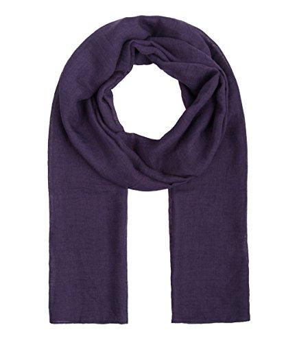 Majea dünnes Tuch leicht uni einfarbig unifarben unisex klassisch Schal schmal weich Sommerschal Übergangsschal (lila)