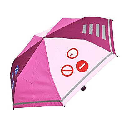 Kinder Regenschirm Taschenschirm Schultaschenschirm mit Reflektorstreifen extra leicht für Mädchen